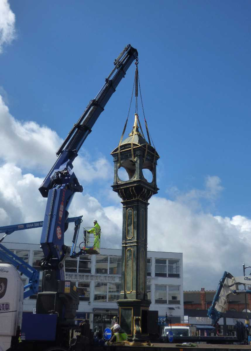 Removal of the Chamberlain Clock in the Jewellery Quarter on the 22nd August 2020